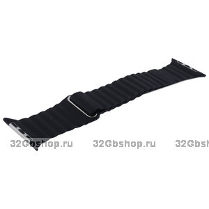 Черный кожаный ремешок COTEetCI Leather Magnet Band Black для Apple Watch 44мм / 42мм