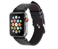 Черный кожаный ремешок HOCO Black с перфорацией для Apple Watch 44мм / 42мм