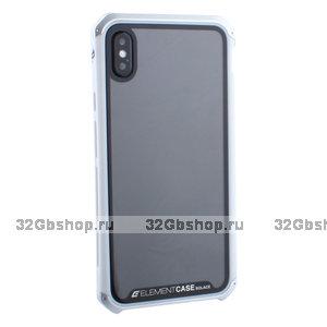 """Белый пластиковый чехол накладка для iPhone XS Max (6.5"""") серебристый алюминиевый ободок Element Case G-Solace AL&Glass White"""