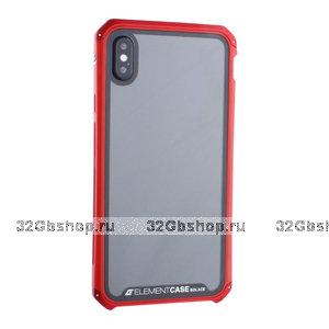 """Красный пластиковый чехол накладка для iPhone XS Max (6.5"""") с алюминиевой вставкой Element Case G-Solace AL&Glass Red"""