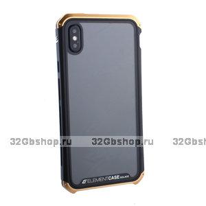"""Черный пластиковый чехол накладка для iPhone XS Max (6.5"""") с золотой алюминиевой вставкой Element Case G-Solace AL&Glass Black-Gold"""