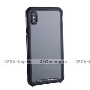 """Черный пластиковый чехол накладка для iPhone XS Max (6.5"""") с алюминиевой вставкой Element Case G-Solace AL&Glass Black"""