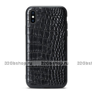 Черный силиконовый чехол с вставкой из кожи крокодила для iPhone XS Max 6.5 брюхо