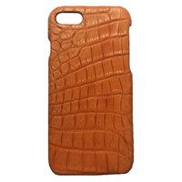 Оранжевый чехол из кожи крокодила для iPhone 7 / 8