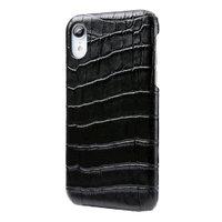 Черный чехол из кожи крокодила для iPhone XR брюшко
