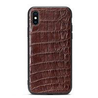 Силиконовый чехол с коричневой вставкой из кожи крокодила для iPhone XS Max 6.5 брюхо