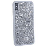 Серый силиконовый чехол со стразами для iPhone XS Max