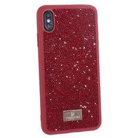 Красный силиконовый чехол со стразами для iPhone XS Max