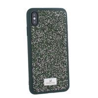 Темно-зеленый силиконовый чехол со стразами для iPhone XS Max