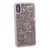 """Розовая силиконовая накладка со стразами для iPhone XS / X (5.8"""")"""