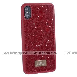"""Красная силиконовая накладка со стразами для iPhone XS / X (5.8"""")"""