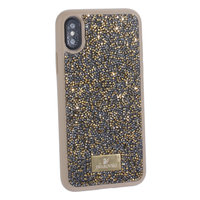 """Оливковый силиконовый чехол накладка для iPhone XS / X (5.8"""") со стразами"""