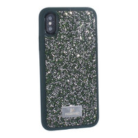 """Зеленый силиконовый чехол для iPhone XS / X (5.8"""") со стразами"""