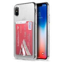 Прозрачный силиконовый чехол для iPhone X / Xs 10 с карманом - отсеком для карт