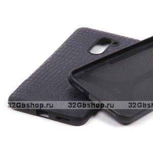 Силиконовый чехол с вставкой из экокожи для для Xiaomi Pocophone F1 черный