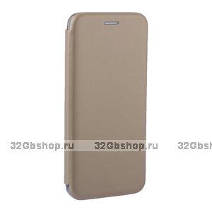 Золотой кожаный чехол книжка для Xiaomi Redmi Note 7