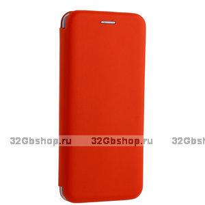 Красный кожаный чехол книжка для Xiaomi Redmi Note 7