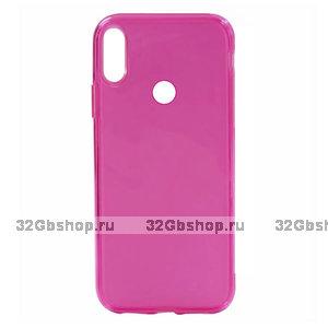 Розовый прозрачный силиконовый чехол для Redmi Note 7