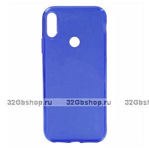 Синий прозрачный силиконовый чехол для Redmi Note 7