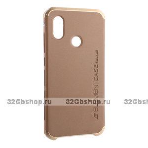 Золотая противоударная накладка с алюминиевой вставкой для Xiaomi Redmi Note 7 - Element Case Solace AL&Pl Gold