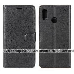 Черный кожаный чехол книжка кошелек для Redmi Note 7