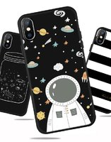 Черный матовый силиконовый чехол для iPhone XS Max 6.5 Космонавт