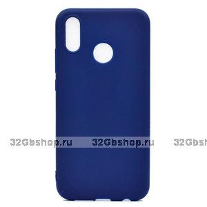 Синий матовый силиконовый чехол для Xiaomi Redmi Note 7