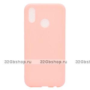 Розовый матовый силиконовый чехол для Xiaomi Redmi Note 7