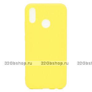 Желтый матовый силиконовый чехол для Xiaomi Redmi Note 7