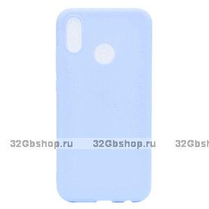 Голубой матовый силиконовый чехол для Xiaomi Redmi Note 7