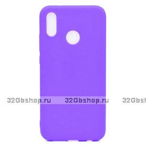 Фиолетовый матовый силиконовый чехол для Xiaomi Redmi Note 7