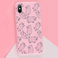Розовый матовый силиконовый чехол для iPhone XS Max 6.5 с рисунком поросята