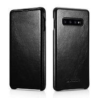 Черный кожаный чехол книжка для Samsung Galaxy S10+ Plus - i-Carer Vintage Series Black