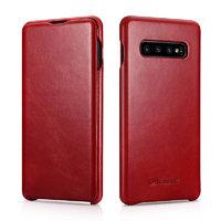 Красный кожаный чехол книжка для Samsung Galaxy S10+ Plus - i-Carer Vintage Series Red