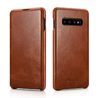 Коричневый кожаный чехол книга для Samsung Galaxy S10+ Plus - i-Carer Vintage Series Brown
