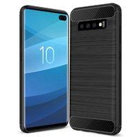 Черный защитный противоударный силиконовый чехол для Samsung Galaxy S10+ Plus