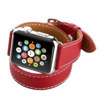 Красный кожаный ремешок для Apple Watch 44мм / 42мм