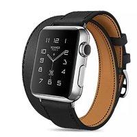 Черный кожаный ремешок для Apple Watch 44мм / 42мм