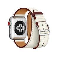 Белый кожаный ремешок для Apple Watch 44мм / 42мм
