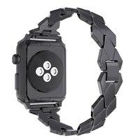 Черный стальной ремешок  Black для Apple Watch 44мм / 42мм ромбы