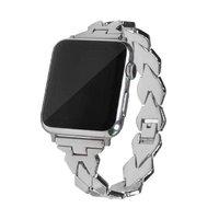Серебристый стальной ремешок для Apple Watch 44мм / 42мм ромбы