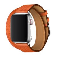 Оранжевый кожаный ремешок для Apple Watch 44мм / 42мм