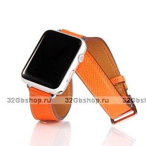 Оранжевый кожаный ремешок для Apple Watch 38мм / 40мм два оборота