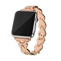 Стальной ремешок для Apple Watch 44мм / 42мм ромбы - цвет розовое золото
