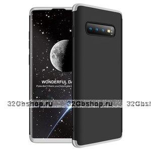 Защитный пластиковый чехол для Samsung Galaxy S10 черный с серебряной алюминиевой вставкой Element Case Solace AL&Pl Black-Silver