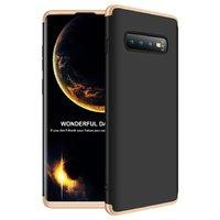Черный защитный пластиковый чехол для Samsung Galaxy S10 с золотой алюминиевой вставкой Element Case Solace AL&Pl Black-Gold