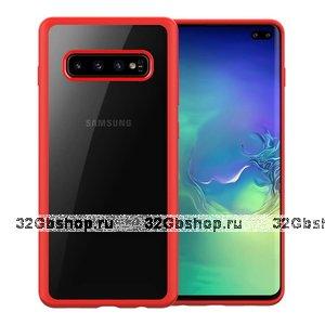 Красный чехол бампер для Samsung Galaxy S10 с прозрачной задней вставкой