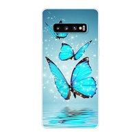 Прозрачный силиконовый чехол для Samsung Galaxy S10 рисунок бабочки