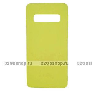 Желтый силиконовый чехол для Samsung Galaxy S10