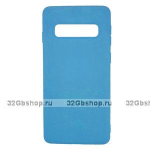 Голубой силиконовый чехол для Samsung Galaxy S10